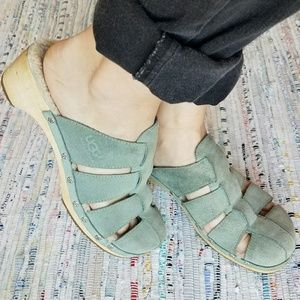 Mint green leather Uggs clogs